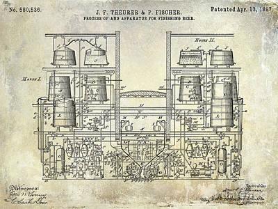 1897 Beer Brewering Patent  Poster