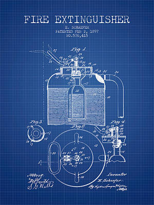 1897 Fire Extinguisher Patent - Blueprint Poster by Aged Pixel