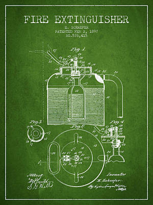 1897 Fire Extinguisher Patent - Green Poster by Aged Pixel