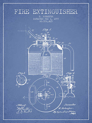 1897 Fire Extinguisher Patent - Light Blue Poster by Aged Pixel