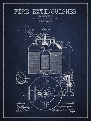 1897 Fire Extinguisher Patent - Navy Blue Poster by Aged Pixel