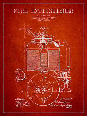 1897 Fire Extinguisher Patent - Red Poster by Aged Pixel