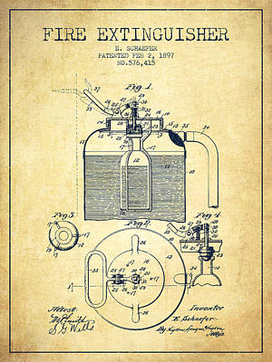 1897 Fire Extinguisher Patent - Vintage Poster by Aged Pixel