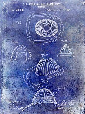 1897 Firemans Hemet Patent Blue Poster by Jon Neidert