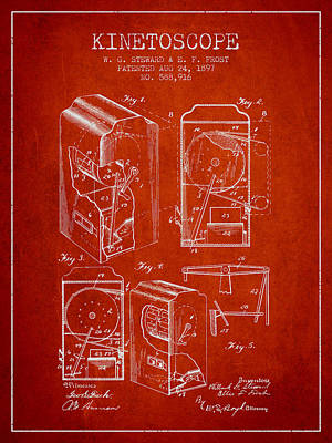 1897 Kinetoscope Patent - Red Poster by Aged Pixel