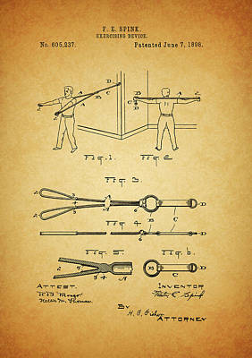 1898 Exercising Device Patent Illustration Poster by Dan Sproul