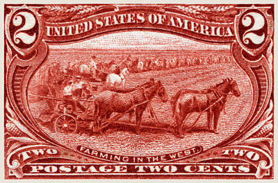 1898 Farming In The West Stamp Poster by Historic Image