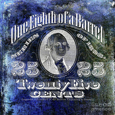 1898 One Eighth Beer Barrel Tax Stamp Blue Poster