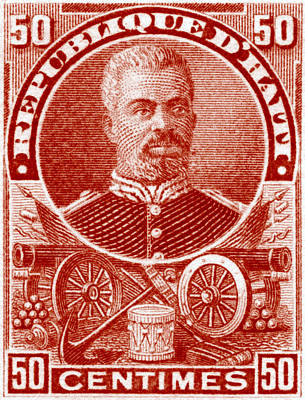 Poster featuring the painting 1898 President Of Haiti Stamp by Historic Image