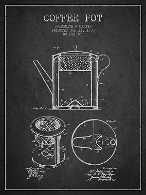 1899 Coffee Pot Patent - Charcoal Poster