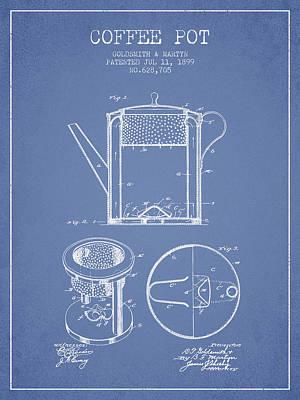 1899 Coffee Pot Patent -  Light Blue Poster