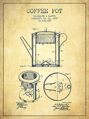 1899 Coffee Pot Patent - Vintage Poster