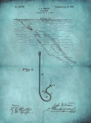 1899 Fishing Hook Patent Blue Poster by Dan Sproul