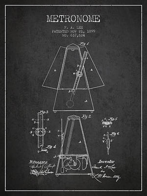 1899 Metronome Patent - Charcoal Poster by Aged Pixel