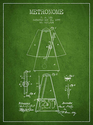 1899 Metronome Patent - Green Poster by Aged Pixel