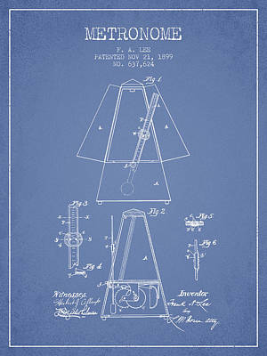 1899 Metronome Patent - Light Blue Poster by Aged Pixel