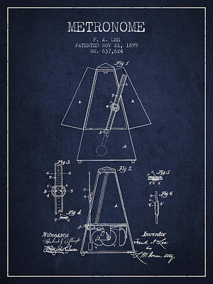 1899 Metronome Patent - Navy Blue Poster by Aged Pixel
