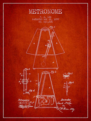1899 Metronome Patent - Red Poster by Aged Pixel