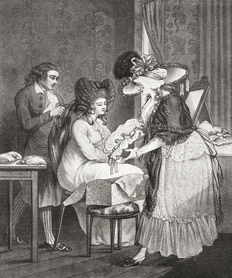18th Century Lady At Her Morning Poster by Vintage Design Pics