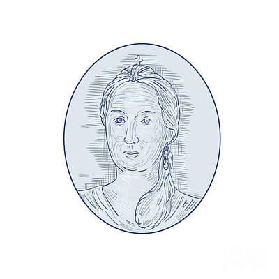 18th Century Russian Empress Bust Oval Drawing Poster