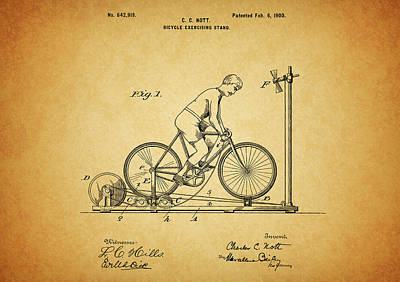 1900 Bicycle Exercise Stand Poster by Dan Sproul
