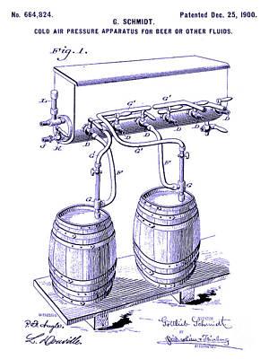 1900 Draft Beer Patent Blueprint Poster by Jon Neidert