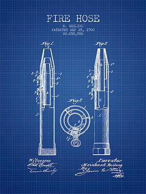 1900 Fire Hose Patent - Blueprint Poster by Aged Pixel
