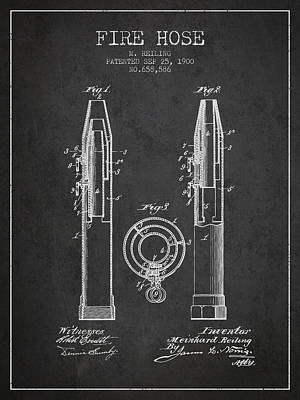 1900 Fire Hose Patent - Charcoal Poster