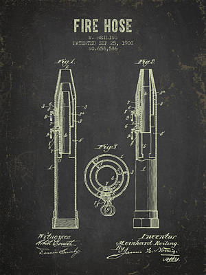 1900 Fire Hose Patent- Dark Grunge Poster by Aged Pixel