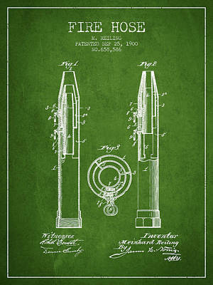 1900 Fire Hose Patent - Green Poster by Aged Pixel