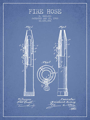 1900 Fire Hose Patent - Light Blue Poster by Aged Pixel