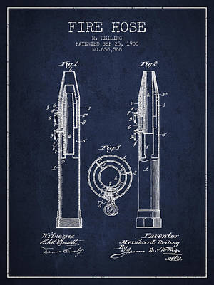 1900 Fire Hose Patent - Navy Blue Poster