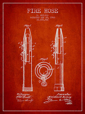 1900 Fire Hose Patent - Red Poster by Aged Pixel