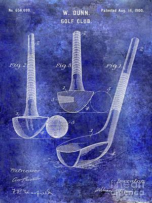 1900 Golf Club Patent Blue Poster
