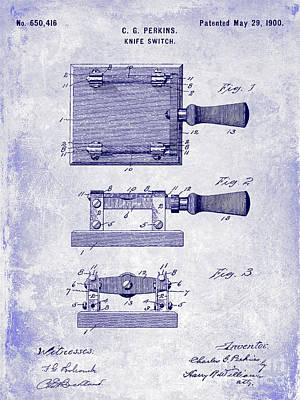 1900 Knife Switch Patent Blueprint Poster