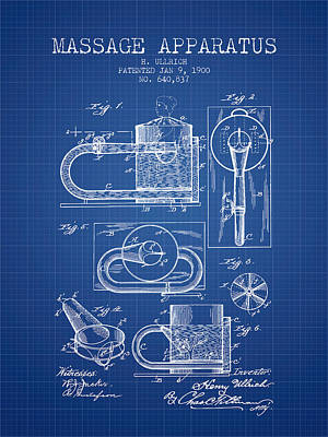 1900 Massage Apparatus Patent - Blueprint Poster by Aged Pixel