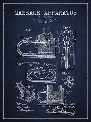 1900 Massage Apparatus Patent - Navy Blue Poster