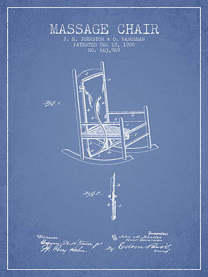 1900 Massage Chair Patent - Light Blue Poster by Aged Pixel