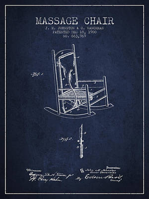 1900 Massage Chair Patent - Navy Blue Poster by Aged Pixel