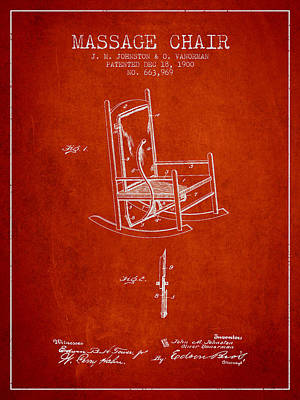 1900 Massage Chair Patent - Red Poster by Aged Pixel