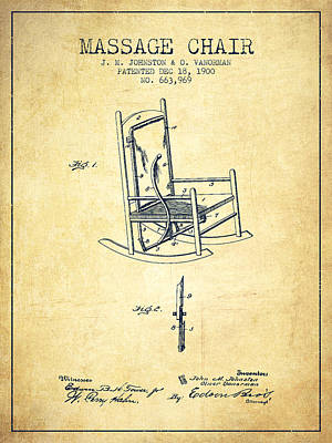 1900 Massage Chair Patent - Vintage Poster by Aged Pixel