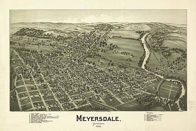 1900 Meyersdale Pennsylvania Map Poster by Dan Sproul