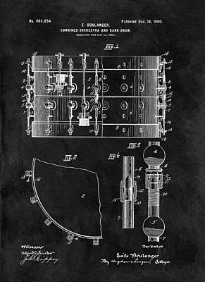 1900 Orchestra Drum Patent Poster by Dan Sproul