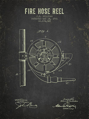 1901 Fire Hose Reel Patent- Dark Grunge Poster by Aged Pixel