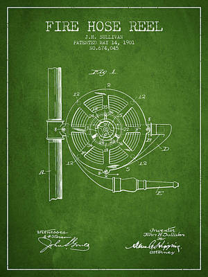 1901 Fire Hose Reel Patent - Green Poster