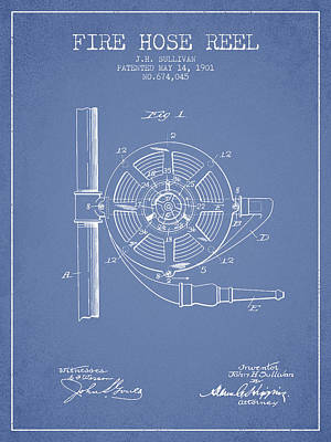 1901 Fire Hose Reel Patent - Light Blue Poster