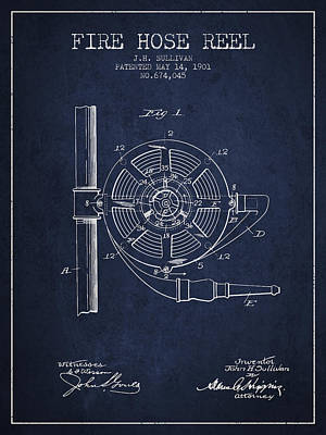 1901 Fire Hose Reel Patent - Navy Blue Poster by Aged Pixel