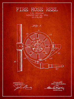 1901 Fire Hose Reel Patent - Red Poster by Aged Pixel