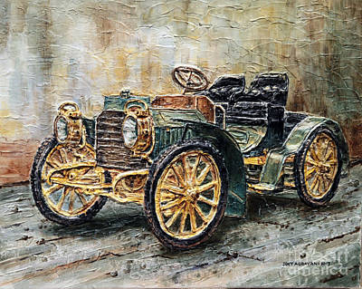 Poster featuring the painting 1901 Mercedes Benz by Joey Agbayani