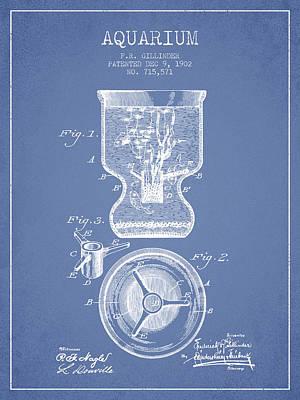 1902 Aquarium Patent - Light Blue Poster by Aged Pixel